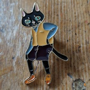 Black Cat Enamel Pin Badge NWOT